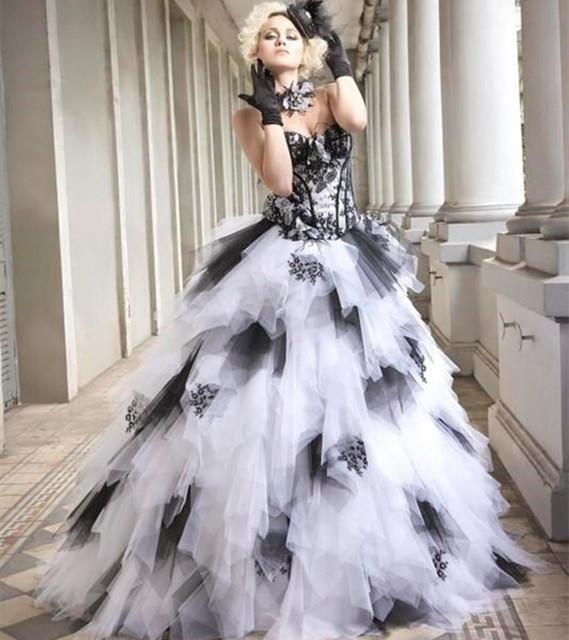 Black and White Gothic Ball Gown Wedding Dresses 2017 Sweetheart ...