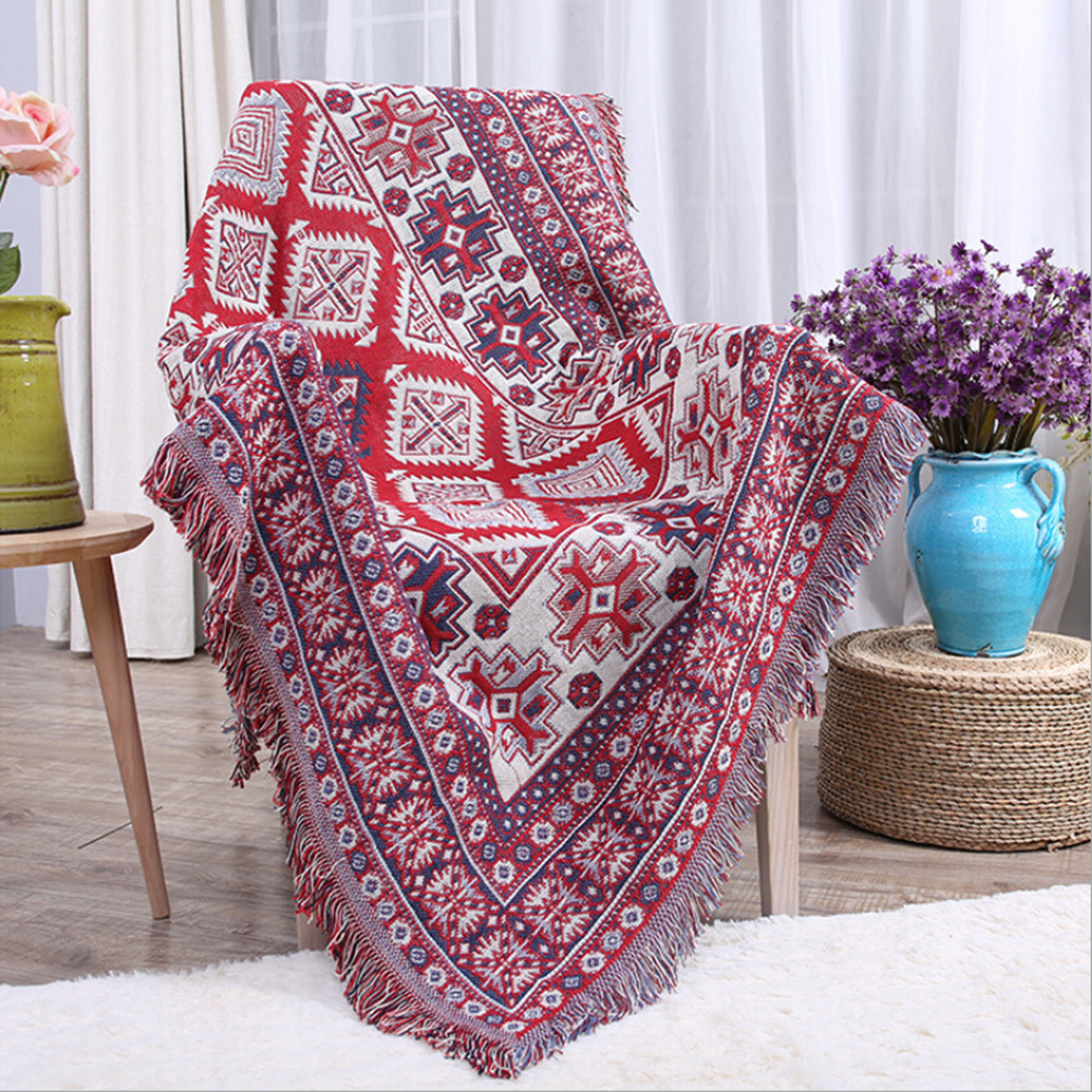 vintage bohemia thickening blanket cotton plaid knitted bedspread for sofa bed office breathable leisure blankets warm