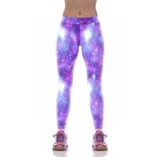 НОВЫЙ 1008 Hot Girl Женщины Звездное небо Мечта Galaxy Фиолетовый 3D Печать Высокая Талия Запуск Фитнес Спорт Леггинсы Бегун Йоги брюки