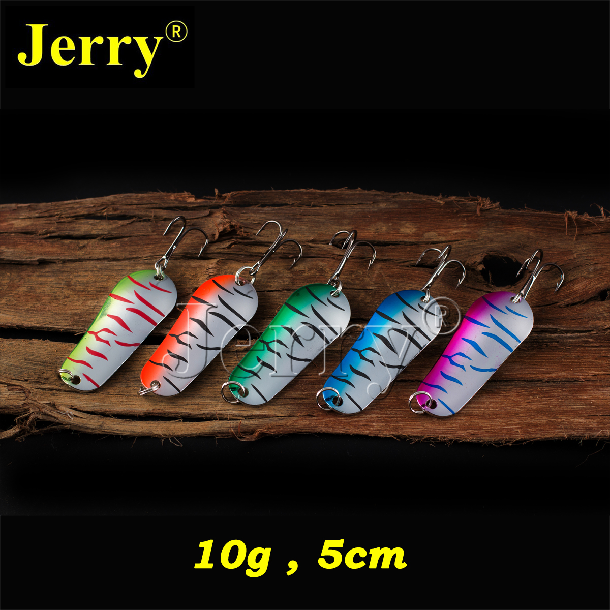 Jerry 5pcs 10g fishing lures casting metal spoon for lake trout salmon pike lure freshwater bait