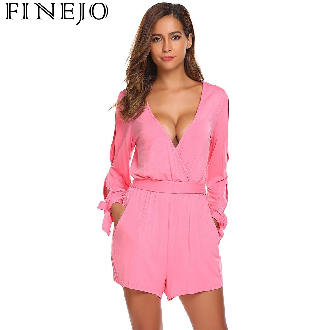 Finejo 2017 Casual Solid Shorts Rompers with Belt Rompers New Deep V-Neck Long Sleeve Fashion Sexy Cuff Tie Paysuits Vestidos