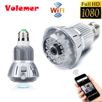 Volemer NEW 1080P HD Wireless Cam WiFi Camera With E27 Lamp Connector IR Night Vision H
