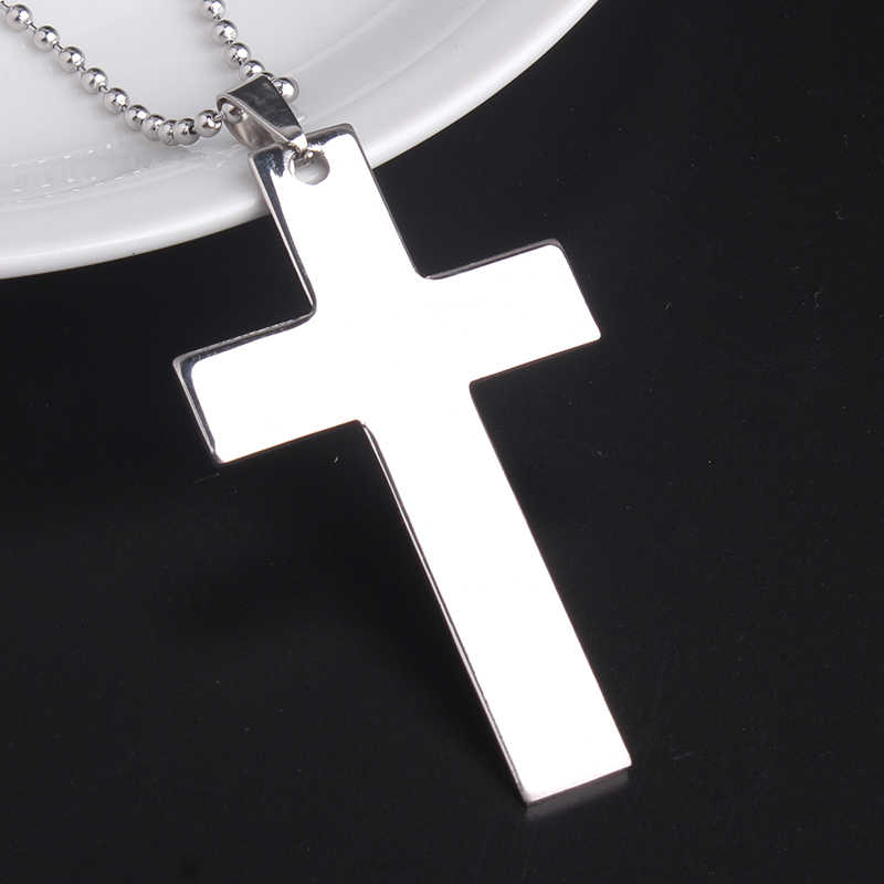 free shipping Large smooth cross 316L Stainless Steel pendant necklaces bead chain for men women wholesale