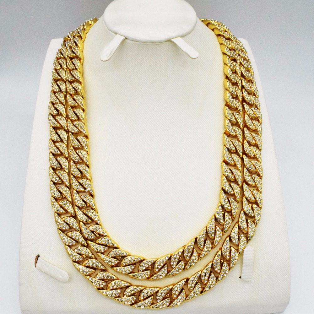 Contemplative Luxury Heavy Link Chain Iced Long Gold Fashion Necklace Men Hiphop Rapper Jewelry High Quality Fashion Design For Men To Win A High Admiration And Is Widely Trusted At Home And Abroad.