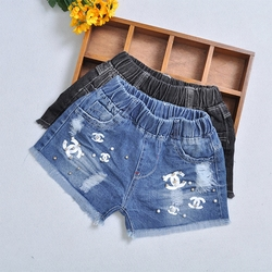 1 piece kids ripped denim shorts summer pearls print toddler baby girls pattern jeans short trousers.jpg 250x250
