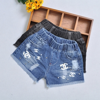 1 piece kids ripped denim shorts summer pearls print toddler baby girls pattern jeans short trousers.jpg 350x350