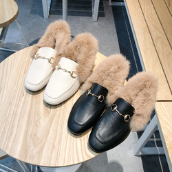 Women Fur Loafer Natural Rabbit Furry Leather Flats Slip On Warm Winter Shoes Buckle Moccasins Big Size EURO size 35-41