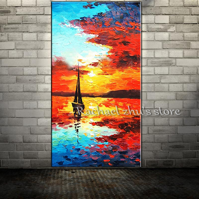 Large Size Hand Painted Sunset Oil Painting On Canvas Palette Knife Sea Beach Wall Pictures Wall Art For Living Room Home Decor