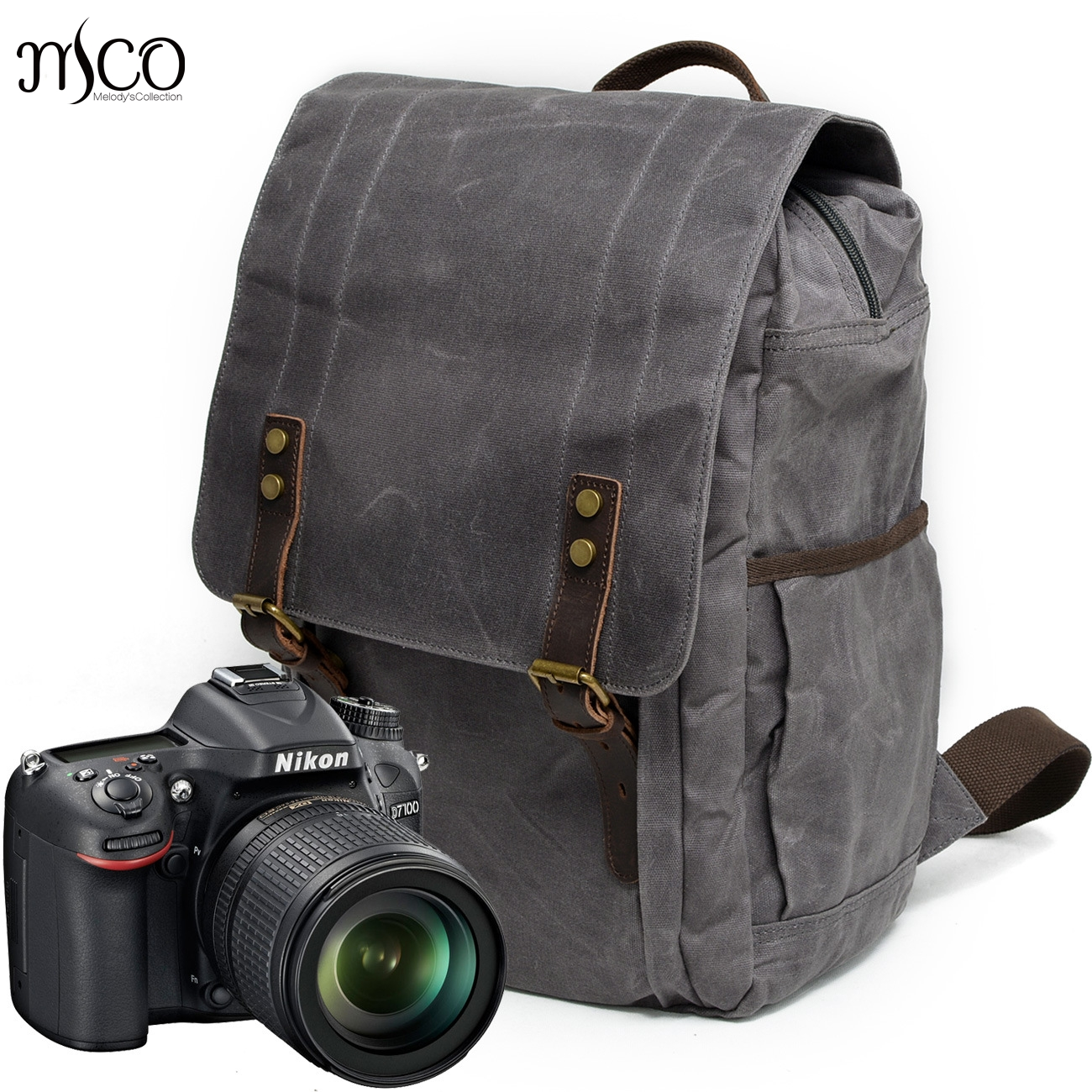 Melodycollection Men Laptop Backpack Waterproof Travel Schoolbag Multifunction Wax Canvas Large Capacity Rucksack School Bags big capacity tactical canvas backpack vintage laptop bags hiking men s backpack schoolbag travel rucksack outdoor daypack me0888