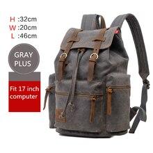 Мужской холщовый рюкзак для ноутбука 17 дюймов, с отделением для ноутбука