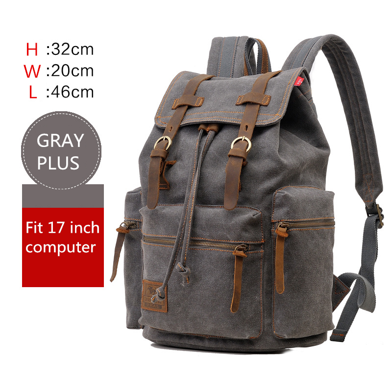 AUGUR New Men's 17 Inch Laptop Backpack Computer School Backpacks Men's Vintage Canvas Large Capacity Travel Backpack School Bag