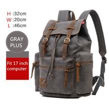 AUGUR mochila para ordenador portátil de 17 pulgadas para hombre, morral escolar vintage de lona de gran capacidad para viaje
