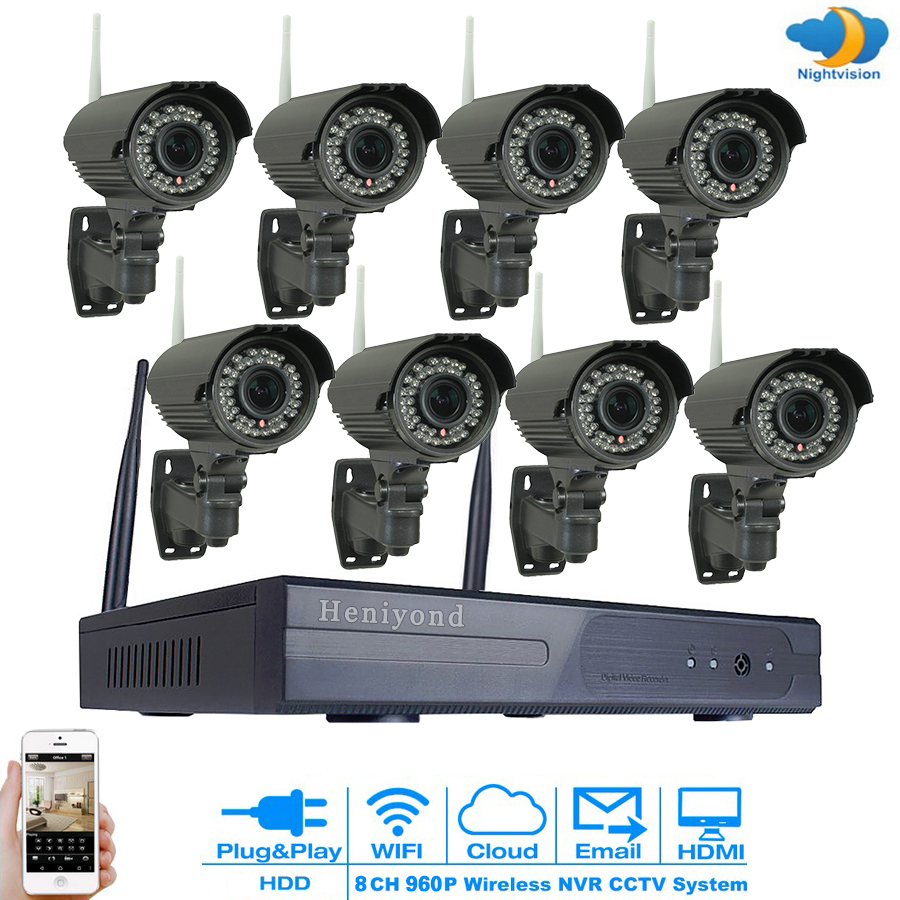 8CH Wireless 960P CCTV Security Camera NVR Kit System Outdoor 1.3MP IP WIFI Camera IR Night Vision CCTV System 3TB cctv system 960p 8ch hd wireless nvr kit outdoor ir night vision ip camera wifi camera kit home security system surveillance
