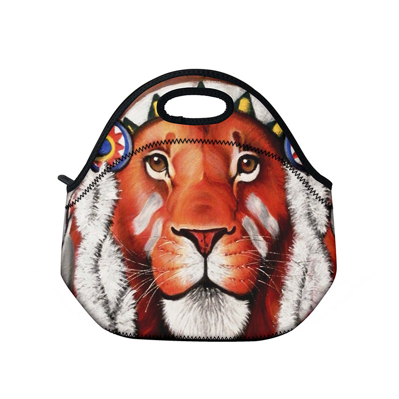 Lion Soft Neoprene Lunch Bag Thermal Insulated lunch Bag For Women Kids Food Bag Tote Cooler lunch bag Picnic Travel Lunch box