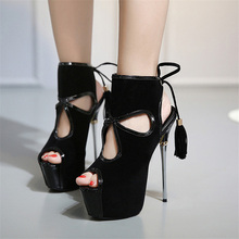 Free shipping summer women's tassel 16cm ultra high heels lace up high heel shoes all-match slingback peep toe platform sandals