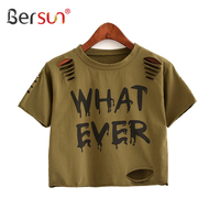 Bersun 2017 New Summer Fashion Women T Shirt Letter Printed Hollow Hole Ripped Crop Top Short