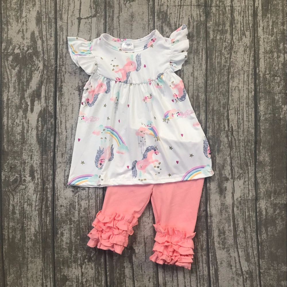 baby girls summer unicorn outfits coral ruffle capri