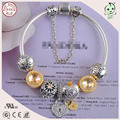 Very Beautiful  Snowflake Series  Golden Silver Charms European 925  Sterling Silver Charm Bracelet