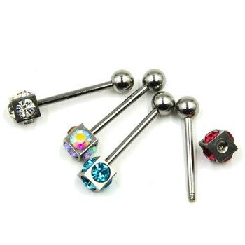 4 Stks Surgial Staal Cz Vierkante Tong Barbell Rings Piercing Met Satelliet Logo Tong Bar Retainer Lichaam Sieraden 14g