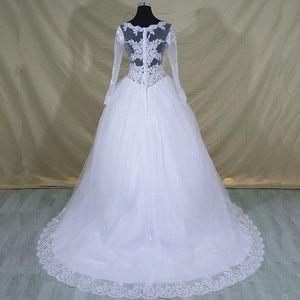 Image 3 - 2020 Vestido De Noiva Long Sleeve Lace V Neck Wedding Dress Modern Arabic Elegant Bridal Gown With Real Pictures