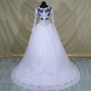 Image 3 - Robe De mariée en dentelle à manches longues col en V, robe De mariée moderne élégante et arabe avec des images réelles, 2020