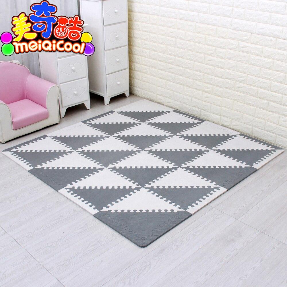 Mei qi legal quebra-cabeça do bebê eva esteira de espuma crianças rastejando tapete de jogo crianças tapetes de jogo ginásio macio piso jogo triângulo 35 cm * 1 cm cinza