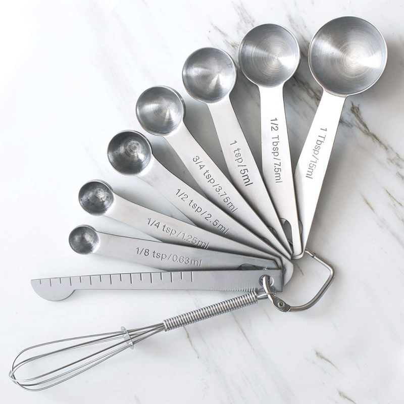 9PCS/Set Measuring Spoons Scoop Stainless Steel Measuring Cup Kitchen Scale Baking Cooking Teaspoons Sugar Measuring Tools Set