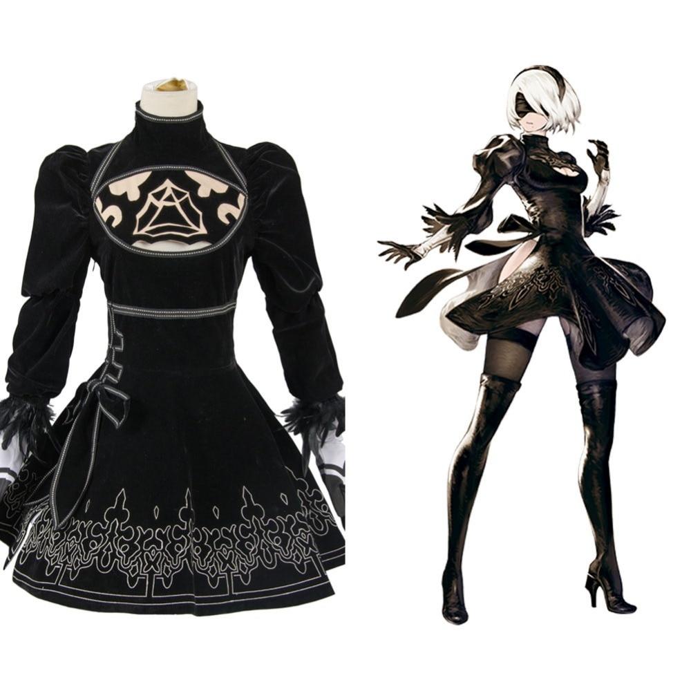 New NieR:Automata 2B Cosplay Cosutme Uniform Dress Anime Halloween Cosplay Costume For Women Custom Made