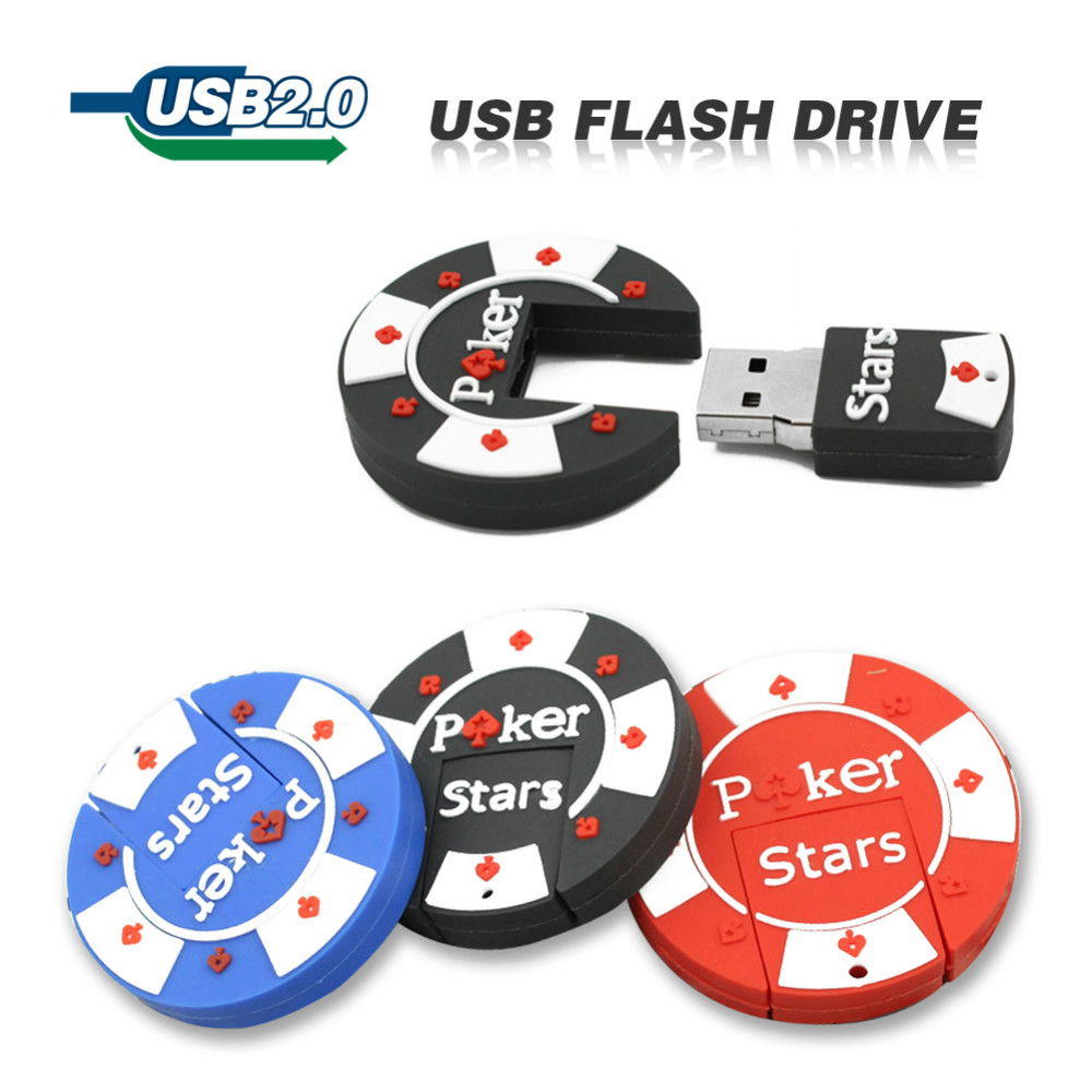 Usb Flash Drive 4GB 8GB 16GB Cartoon Rubber 32GB 64GB  Poker Stars Pokerstars USB Flash Pen Drive Cute Free Shipping