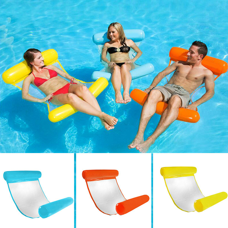 Air-filled Floating Bed With Net Hammock Foldable Double-purpose Backrest Floating Chair Floating Bed Sofa