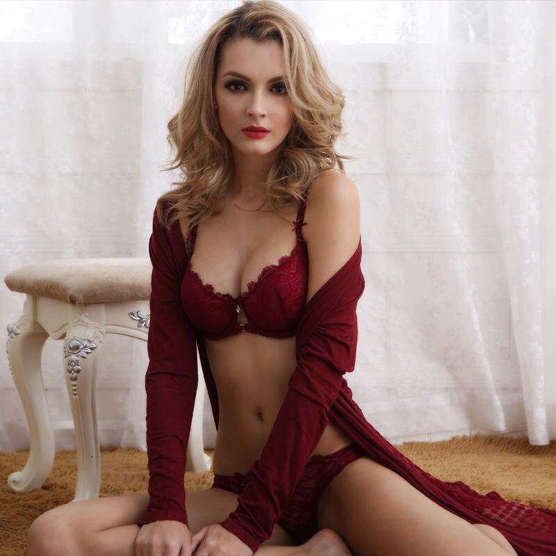 OUDOMILAI Women   Bra   &   Brief     Sets   Sexy Lingerie Lace thin cotton cup close breast   bras   side push up ladies Underwear   Set