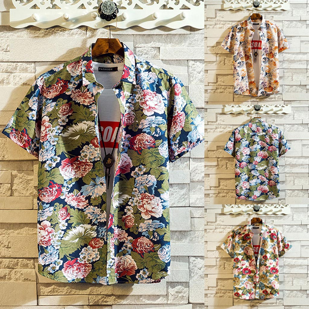 2019 Plus Size Men Summer Shirts Short Sleeve Beach Tops Loose Casual Blouse M-5XL Hawaiian Shirt Camisas Hombre Streetwear