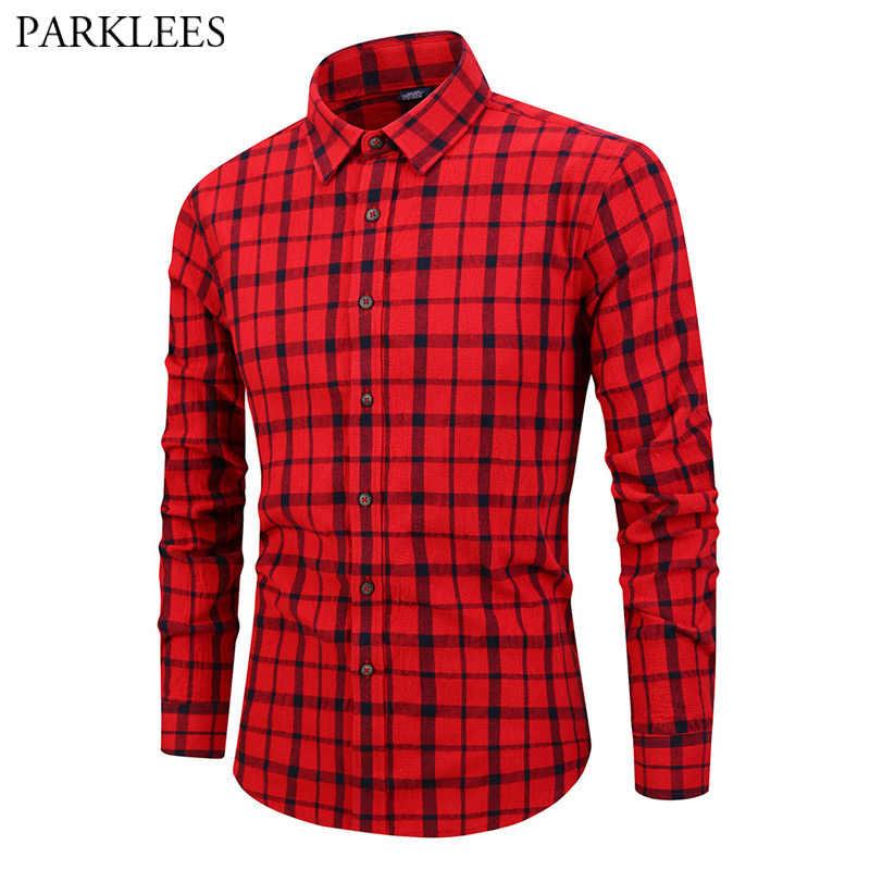 Мужская рубашка в красную и черную клетку, новинка 2019, мужская рубашка с длинным рукавом, модная Корейская рубашка в клетку, мужская рубашка, топ 3XL