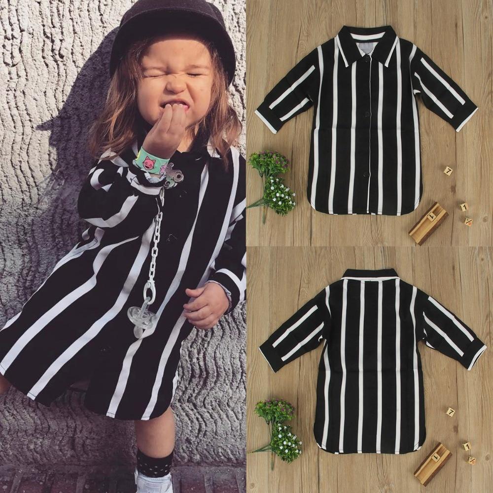 2017 Puseky 2 6Y Girls Loose Above KneeLength Shirt Mini Dress Fashion Stripe Long Sleeve Princess