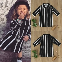 2017 Puseky 2-6Y Girls Loose Above KneeLength Shirt Mini Dress Fashion Stripe Long Sleeve Princess Girl Blouse Autumn Clothes