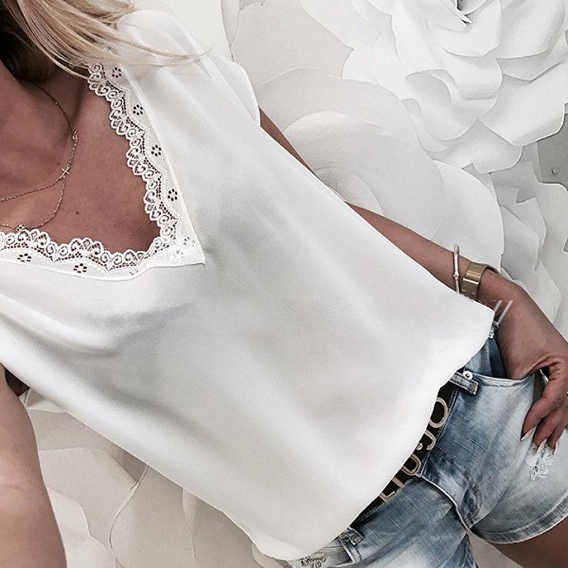 Блузка женская, летняя, с коротким рукавом и треугольным вырезом Блузки и рубашки      АлиЭкспресс