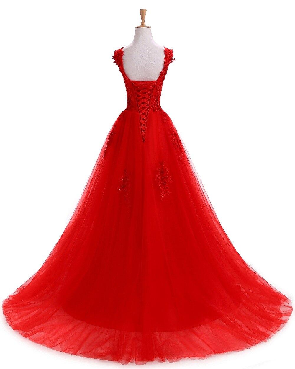 Robe De soirée rouge robes De soirée longue grande taille Tulle bal dentelle Robe perlée robes De Festa Elie Saab Abendkleider 2019 - 2