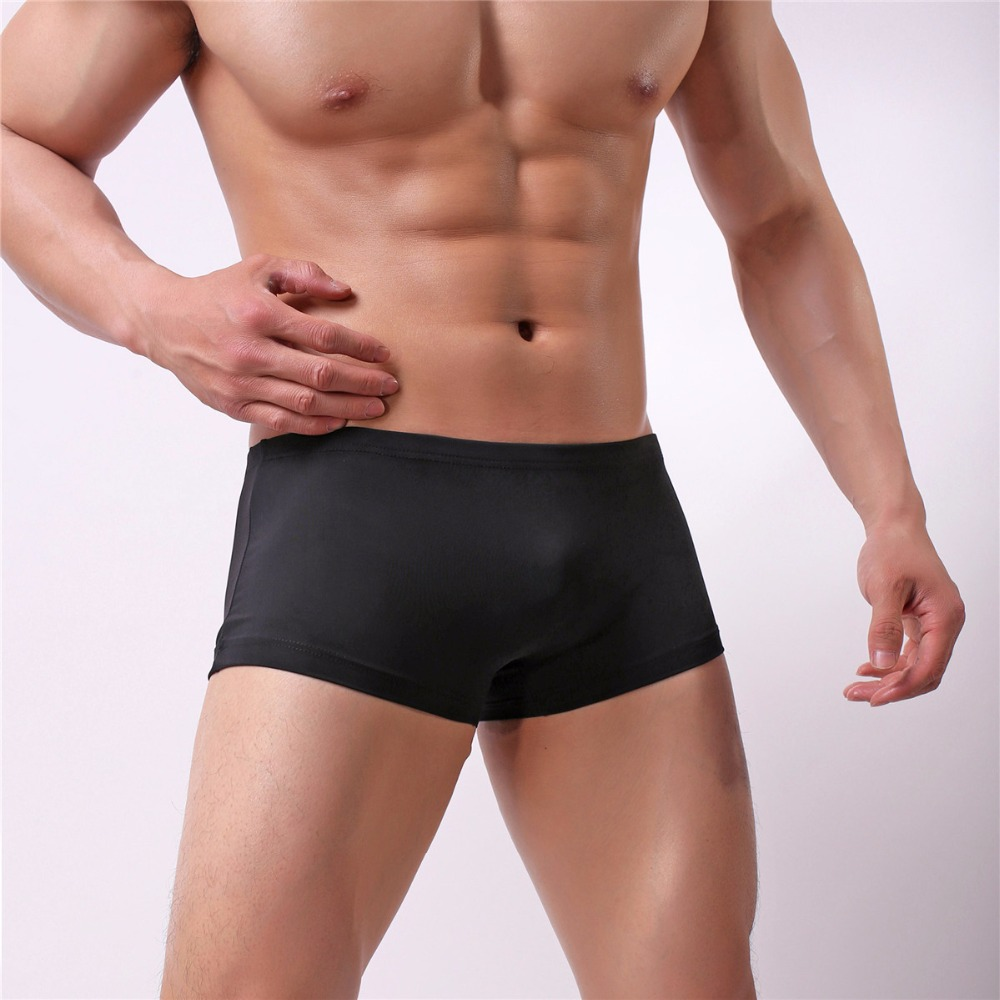 Wholesale Summer Swim Men Boxer Silk Quickly Dry Underwear Swimming Male Fashion Solid Panties Underpants Cueca Boxershorts