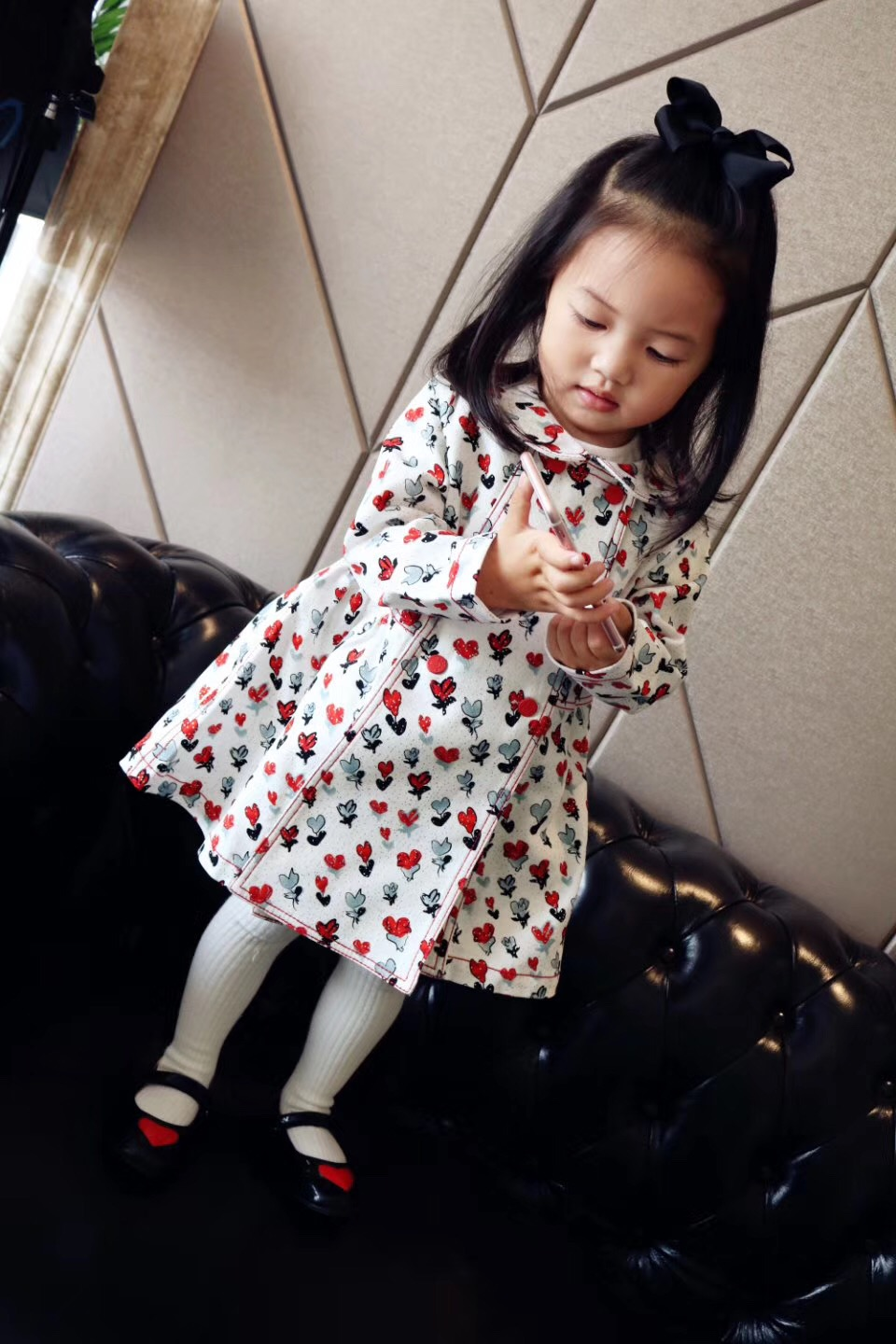 New Autumn Children Outerwear & Coats For Baby Girls Floral Pattern Long Sleeve Turn-Down Collar Worsted Baby Girls Coat lavensey original new children thick cotton turn down collar fashion coats for girl baby clothing free shipping