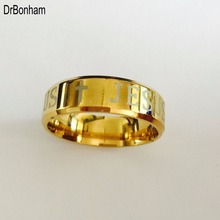 High quality european USA tungsten ring 8mm Gold filled Jesus Ring men women cross engrave letter bible ring USA size 6-14
