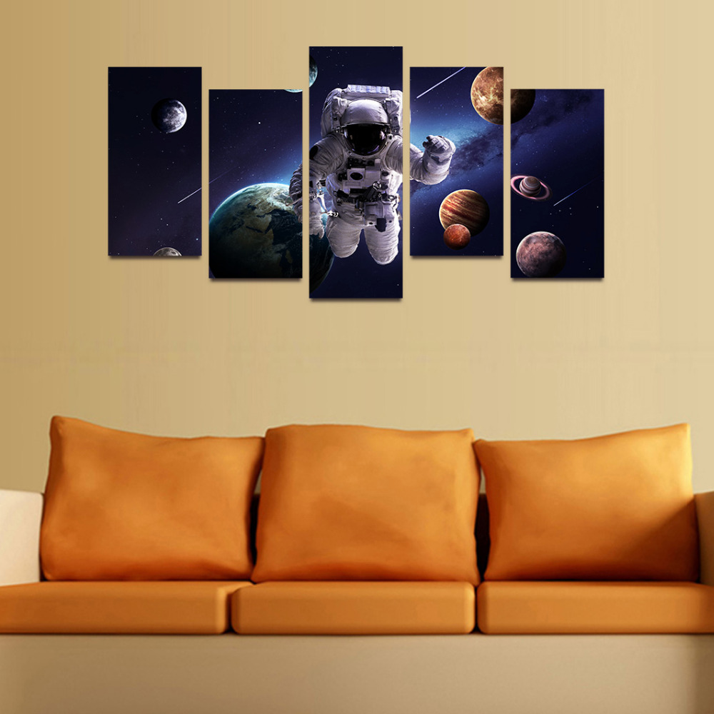 Original Oil Ink Canvas Print Astronaut And Planets Painting On ...