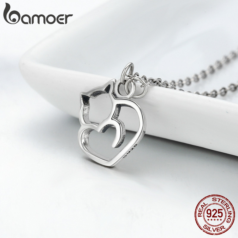 BAMOER Authentic 100 925 Sterling Silver Lovely Cat Exquisite Women Pendant Necklace Luxury Sterling Silver Jewelry BAMOER Authentic 100% 925 Sterling Silver Lovely Cat Exquisite Women Pendant Necklace Luxury Sterling Silver Jewelry Gift SCN188