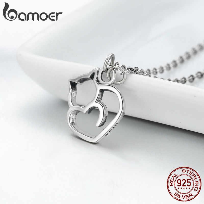 BAMOER otantik % 100% 925 gümüş güzel kedi zarif kadın sarkaç kolye lüks gümüş takı hediye SCN188