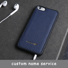 Marque de luxe Véritable de vache en cuir cas de téléphone portable pour l'iphone 6 6 s 5 SE 7 plus cas couverture arrière Apple téléphone personnalisé nom service