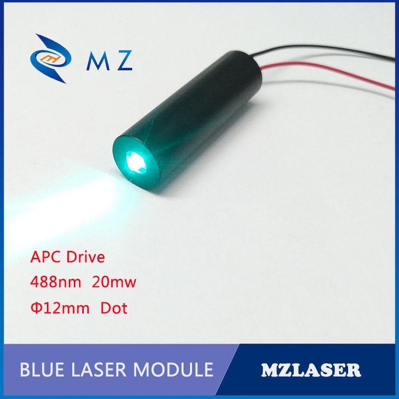 MZL;ASER 12mm 488nm 20mw Industrial APC Drive Cyan Laser Module