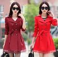 ГОРЯЧАЯ ПРОДАЖА! 2016 Новые Моды для женщин jacketnew Корейских женщин Весной и Осенью дамы ветровка пальто больших ярдов длинный отрезок