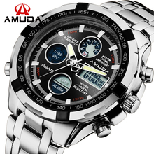 2016 New Luxury Brand AMUDA Men Army Military Watch Men's Quartz LED Digital Clock Full Steel Wrist Watch Men Sports Watches