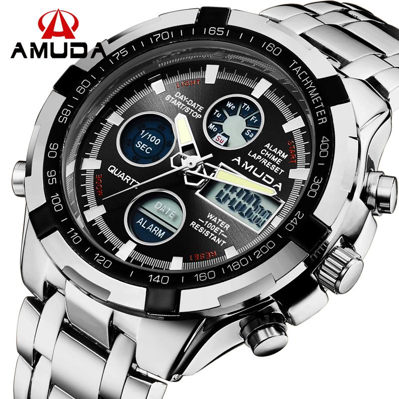 Prix pour 2016 Nouvelle Marque De Luxe AMUDA Hommes Armée Militaire Montre Hommes de Quartz LED Numérique Horloge En Acier Plein Montre-Bracelet Hommes Sport montres