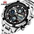 2016 nueva marca de lujo amuda hombres del ejército militar reloj de los hombres Reloj de cuarzo LED Digital Hombres Deportes Reloj de Pulsera de Acero Completo relojes