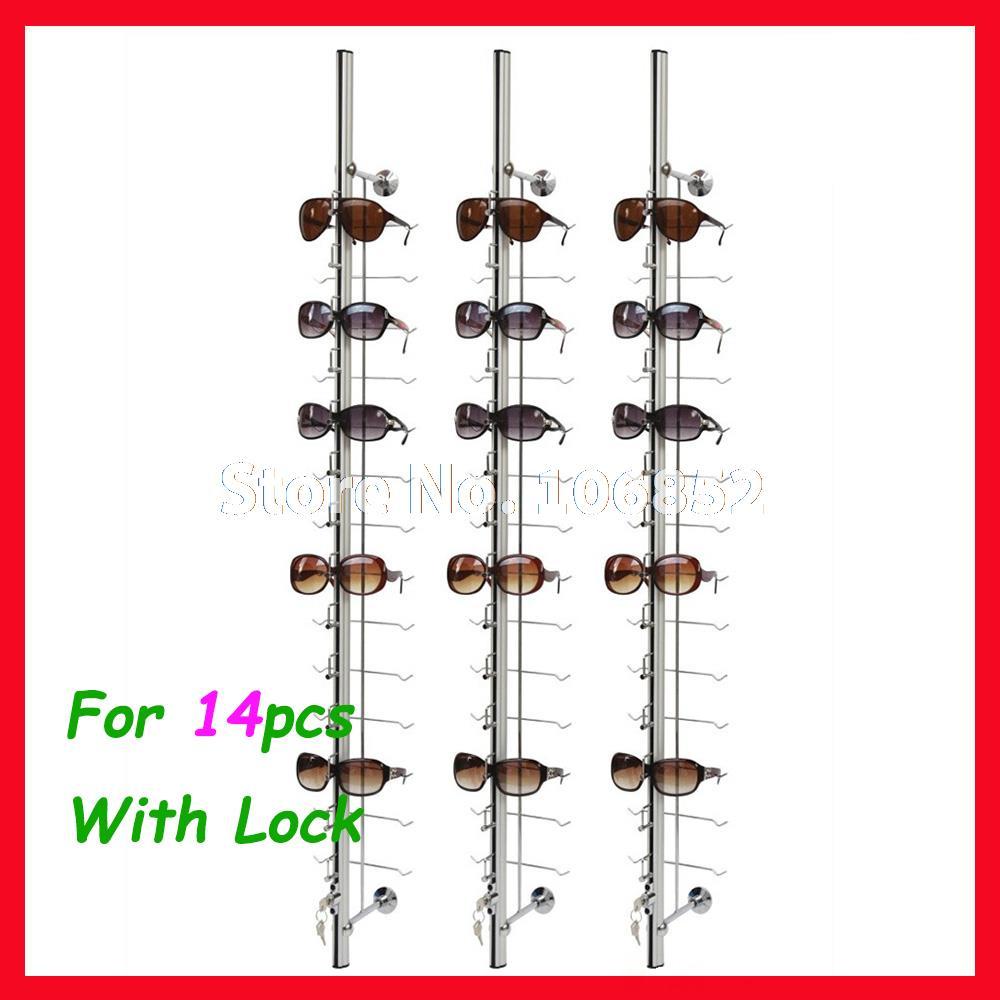 Eyeglasses display - St014l Hold For 14pcs Aluminium Sunglasses Eyeglasses Display Rod Rack With Lock
